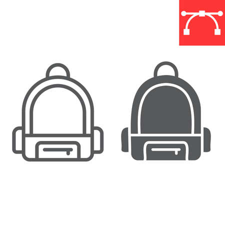School bag line and glyph icon, school and education, backpack sign vector graphics, editable stroke linear icon
