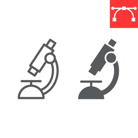 Microscope line and glyph icon, school and education, biology sign vector graphics, editable stroke linear icon