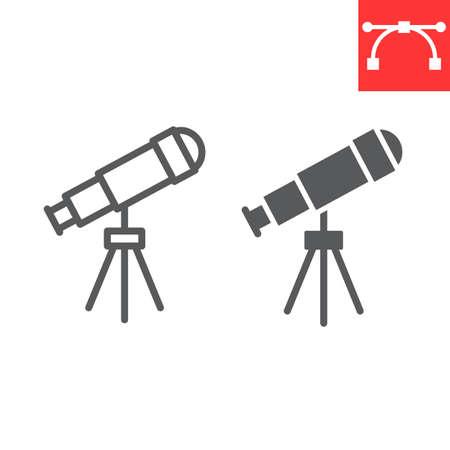 Telescope line and glyph icon, school and education, telescope sign vector graphics, editable stroke linear icon