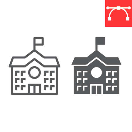 School Building line and glyph icon, school and education, house sign vector graphics, editable stroke linear icon