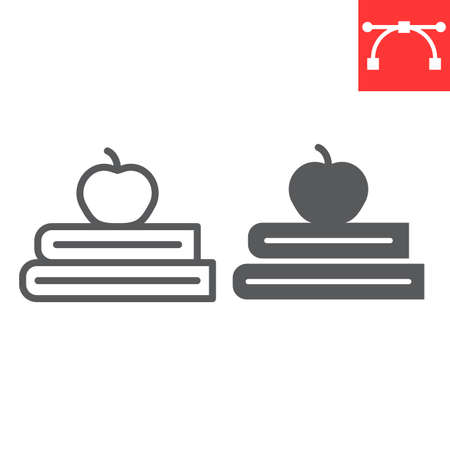 Books with apple line and glyph icon, school and education, apple and book sign vector graphics, editable stroke linear icon