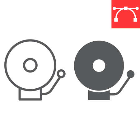 School bell line and glyph icon, school and education, alarm sign vector graphics, editable stroke linear icon