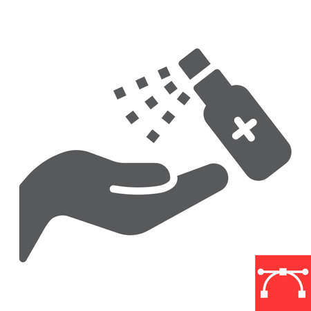 Hand sanitizer glyph icon, hygiene and disinfection, disinfect hand sign vector graphics, editable stroke solid icon. Illusztráció