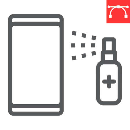 Disinfection smartphone line icon, hygiene and disinfection, cleaning smartphone sign vector graphics, editable stroke linear icon.