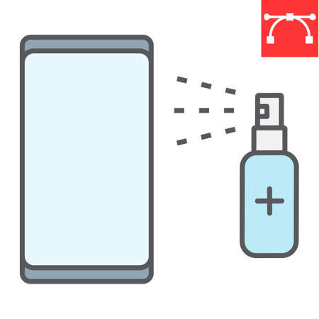 Disinfection smartphone color line icon, hygiene and disinfection, cleaning smartphone sign vector graphics, editable stroke filled outline icon.