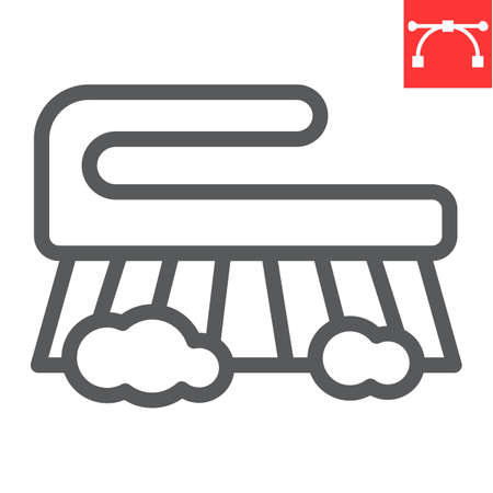 Hand scrubbing brush line icon, hygiene and disinfection, cleaning brush sign vector graphics, editable stroke linear icon, eps 10. Illusztráció