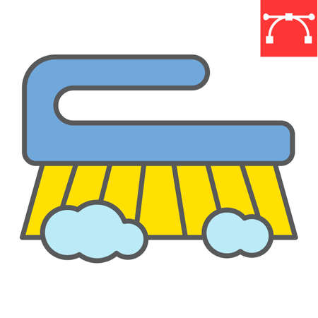 Hand scrubbing brush color line icon, hygiene and disinfection, cleaning brush sign vector graphics, editable stroke filled outline icon, eps 10. Illusztráció