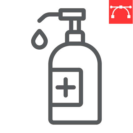 Hand sanitizer line icon, hygiene and disinfection, hand soap sign vector graphics, editable stroke linear icon.