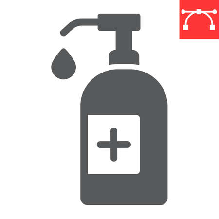 Hand sanitizer glyph icon, hygiene and disinfection, hand soap sign vector graphics, editable stroke solid icon.
