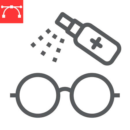 Disinfection eyeglasses line icon, hygiene and disinfection, cleaning eyeglasses sign vector graphics, editable stroke linear icon.