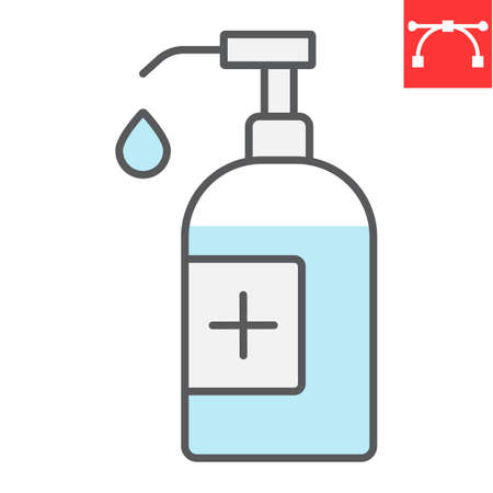 Hand sanitizer color line icon, hygiene and disinfection, disinfect hand sign vector graphics, editable stroke filled outline icon.