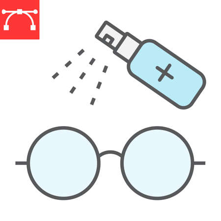 Disinfection eyeglasses color line icon, hygiene and disinfection, cleaning eyeglasses sign vector graphics, editable stroke filled outline icon.