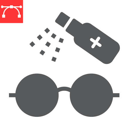 Disinfection eyeglasses glyph icon, hygiene and disinfection, cleaning eyeglasses sign vector graphics, editable stroke solid icon.