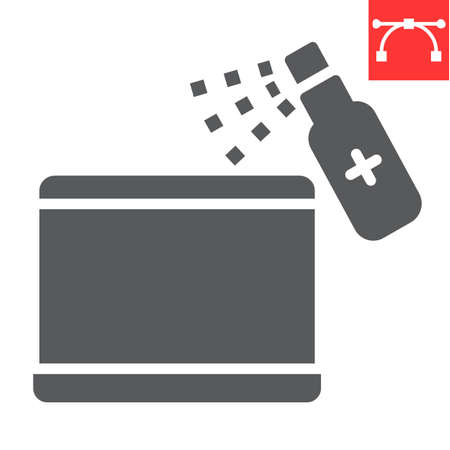 Disinfection laptop glyph icon, hygiene and disinfection, cleaning laptop sign vector graphics, editable stroke solid icon. Illusztráció