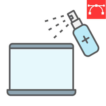 Disinfection laptop color line icon, hygiene and disinfection, cleaning laptop sign vector graphics, editable stroke filled outline icon.  イラスト・ベクター素材