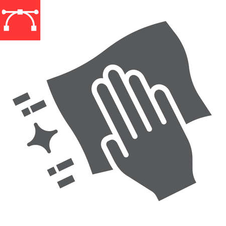 Hand with cleaning napkin glyph icon, hygiene and disinfection, wipe surface sign vector graphics, editable stroke solid icon. Illusztráció