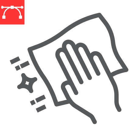 Hand with cleaning napkin line icon, hygiene and disinfection, wipe surface sign vector graphics, editable stroke linear icon.