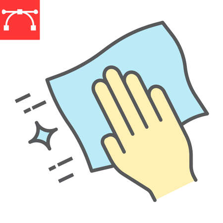 Hand with cleaning napkin color line icon, hygiene and disinfection, wipe surface sign vector graphics, editable stroke filled outline icon.