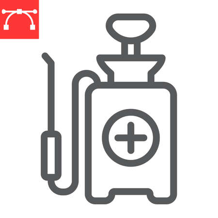 Disinfection pressure sprayer line icon, hygiene and disinfection, disinfectant canister sign vector graphics, editable stroke linear icon.  イラスト・ベクター素材