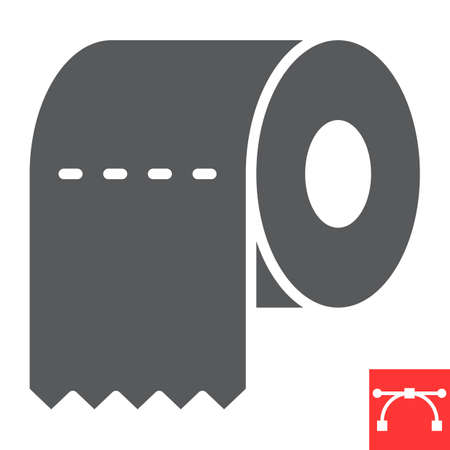 Toilet paper glyph icon, hygiene and disinfection, toilet paper sign vector graphics, editable stroke solid icon.  イラスト・ベクター素材
