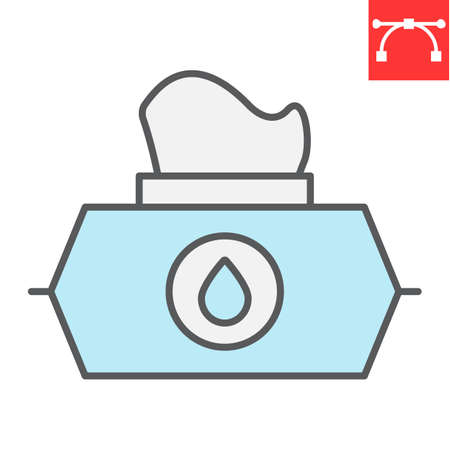 Wet wipes color line icon, hygiene and disinfection, wet tissue pack sign vector graphics, editable stroke filled outline icon. 向量圖像