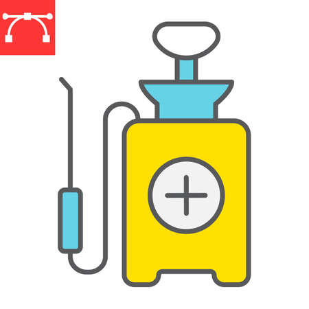 Disinfection pressure sprayer color line icon, hygiene and disinfection, disinfectant canister sign vector graphics, editable stroke filled outline icon. 向量圖像