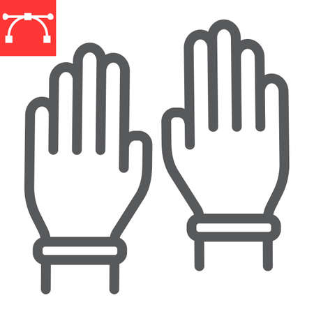 Safety gloves line icon, hygiene and protection, rubber gloves sign vector graphics, editable stroke linear icon.