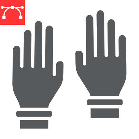 Safety gloves glyph icon, hygiene and protection, rubber gloves sign vector graphics, editable stroke solid icon.  イラスト・ベクター素材