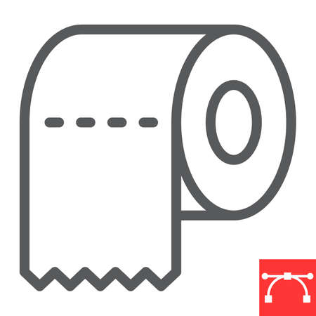 Toilet paper line icon, hygiene and disinfection, toilet paper sign vector graphics, editable stroke linear icon.  イラスト・ベクター素材