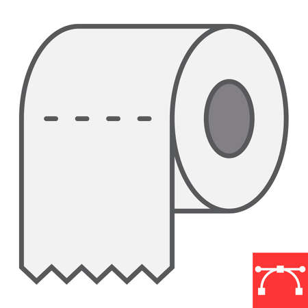 Toilet paper color line icon, hygiene and disinfection, toilet paper sign vector graphics, editable stroke filled outline icon.  イラスト・ベクター素材