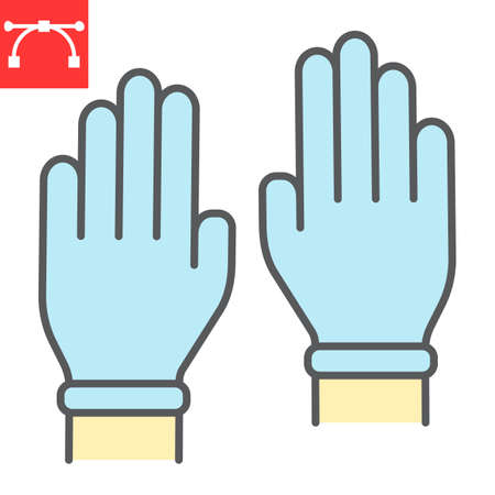 Safety gloves color line icon, hygiene and protection, rubber gloves sign vector graphics, editable stroke filled outline icon.  イラスト・ベクター素材