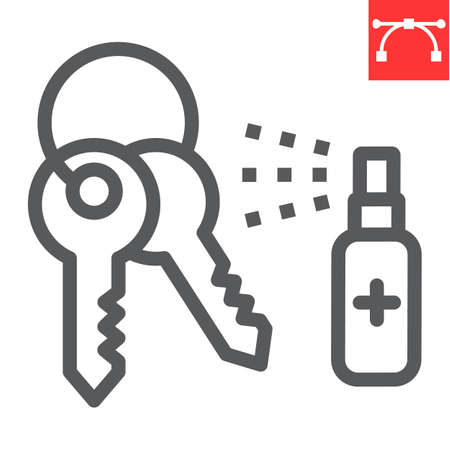 Disinfection keys line icon, hygiene and disinfection, cleaning keys sign vector graphics, editable stroke linear icon.