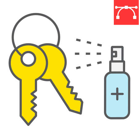 Disinfection keys color line icon, hygiene and disinfection, cleaning keys sign vector graphics, editable stroke filled outline icon.