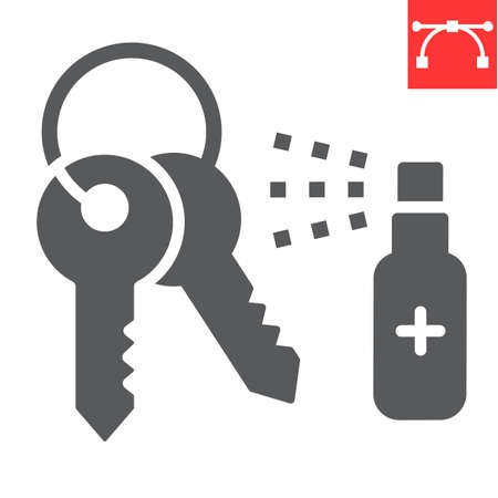 Disinfection keys glyph icon, hygiene and disinfection, cleaning keys sign vector graphics, editable stroke solid icon.