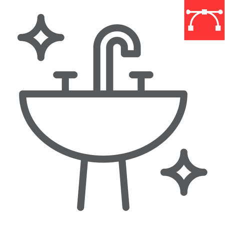 Washbasin line icon, hygiene and bathroom, disinfection sink sign vector graphics, editable stroke linear icon.