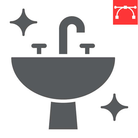 Washbasin glyph icon, hygiene and bathroom, disinfection sink sign vector graphics, editable stroke solid icon.  イラスト・ベクター素材