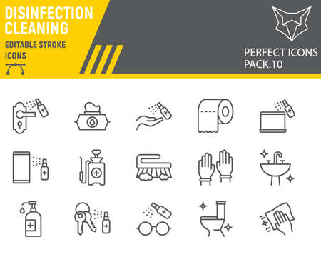 Disinfection line icon set, cleaning symbols collection, vector ,  illustrations, hygiene icons, antibacterial cleaning signs linear pictograms, editable stroke.