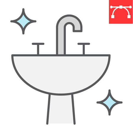 Washbasin color line icon, hygiene and bathroom, disinfection sink sign vector graphics, editable stroke filled outline icon.