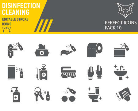 Disinfection glyph icon set, cleaning symbols collection, vector ,  illustrations, hygiene icons, antibacterial cleaning signs solid pictograms, editable stroke.