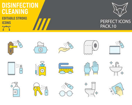 Disinfection color line icon set, cleaning symbols collection, vector ,  illustrations, hygiene icons, antibacterial cleaning signs filled outline pictograms, editable stroke.