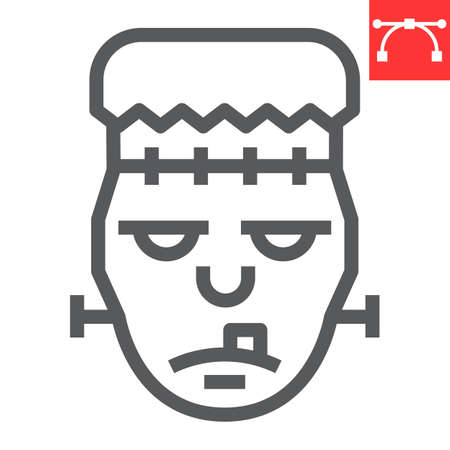 Frankenstein line icon, halloween and scary, zombie sign vector graphics, editable stroke linear icon  イラスト・ベクター素材