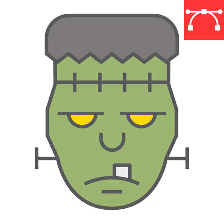Frankenstein color line icon, halloween and scary, zombie sign vector graphics, editable stroke filled outline icon  イラスト・ベクター素材