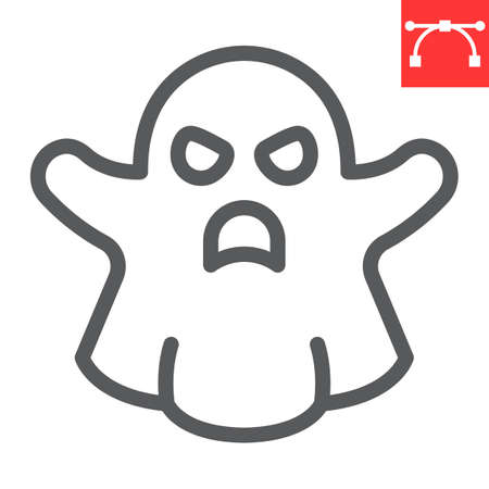 Ghost line icon, halloween and scary, ghost sign vector graphics, editable stroke linear icon