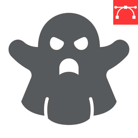 Ghost glyph icon, halloween and scary, ghost sign vector graphics, editable stroke solid icon