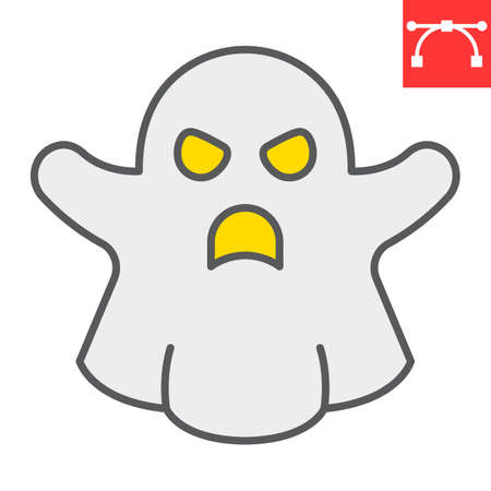 Ghost color line icon, halloween and scary, ghost sign vector graphics, editable stroke filled outline icon  イラスト・ベクター素材