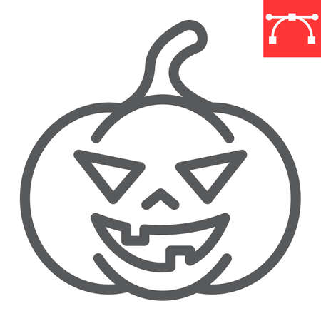 Halloween pumpkin line icon, halloween and scary, pumpkin sign vector graphics, editable stroke linear icon