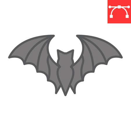 Bat color line icon, halloween and scary, bat sign vector graphics, editable stroke filled outline icon  イラスト・ベクター素材