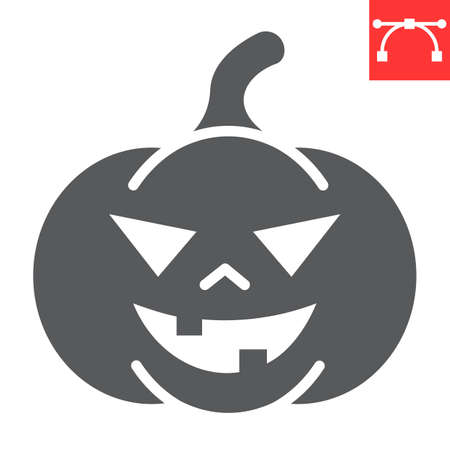 Halloween pumpkin glyph icon, halloween and scary, pumpkin sign vector graphics, editable stroke solid icon