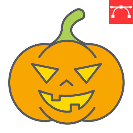Halloween pumpkin color line icon, halloween and scary, pumpkin sign vector graphics, editable stroke filled outline icon