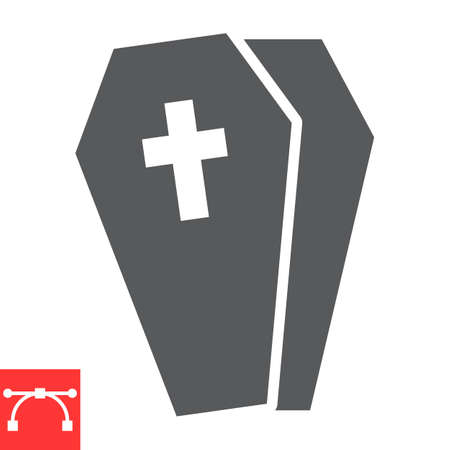 Coffin glyph icon, halloween and scary, casket sign vector graphics, editable stroke solid icon